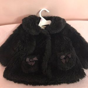 "Black ""fur"" coat. 9 months"